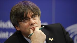 El 'expresident' de la Generalitat Carles Puigdemont el pasado día 13, en el Parlamento Europeo.