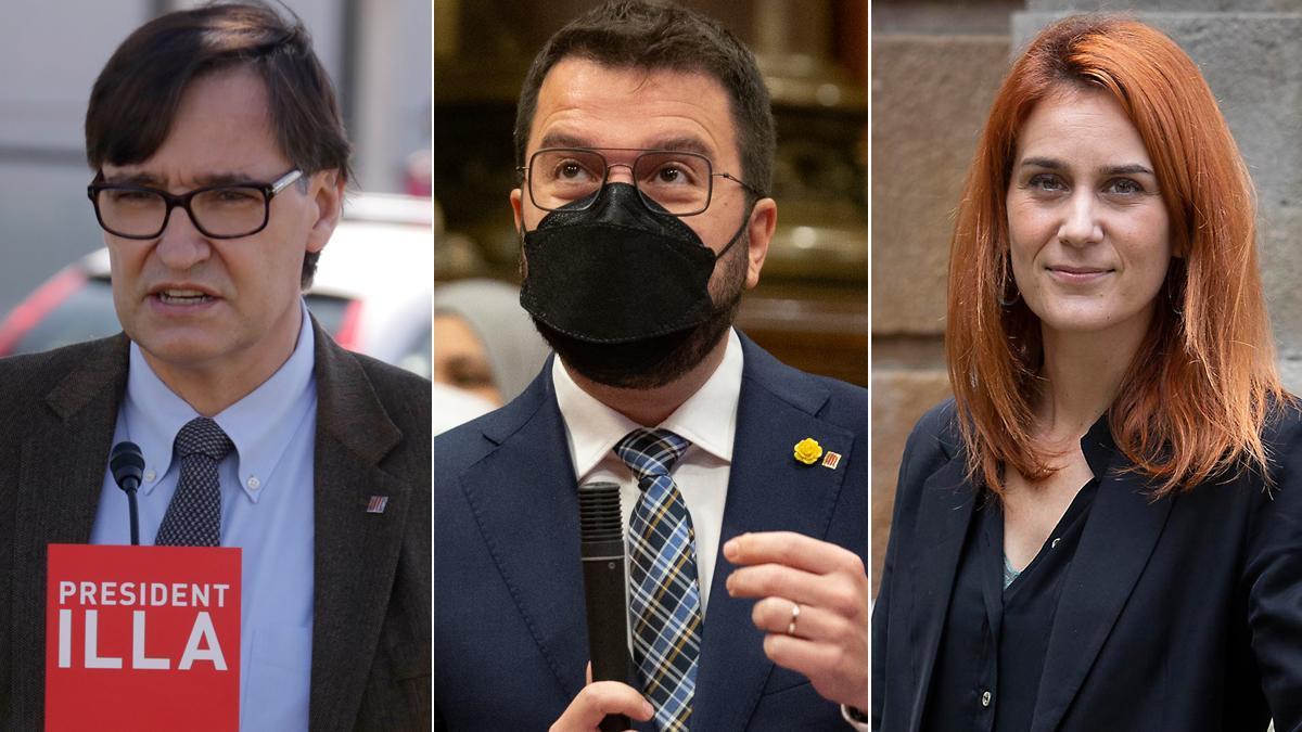 Salvador Illa, Pere Aragonès y Jéssica Albiach.
