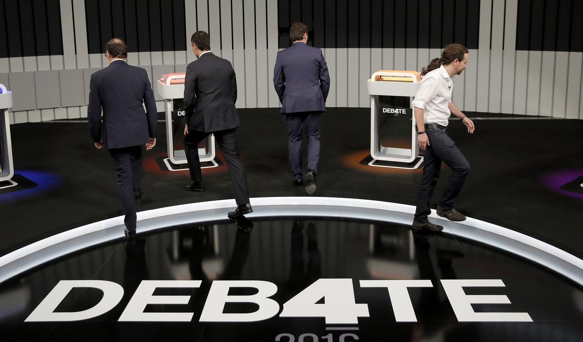 Rajoy, Sánchez, Rivera e Iglesias, poco antes del inicio del debate a cuatro del 13 de junio del 2016.