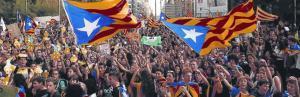 Movilización de estudiantes en Barcelona a favor del referéndum del 1-O.