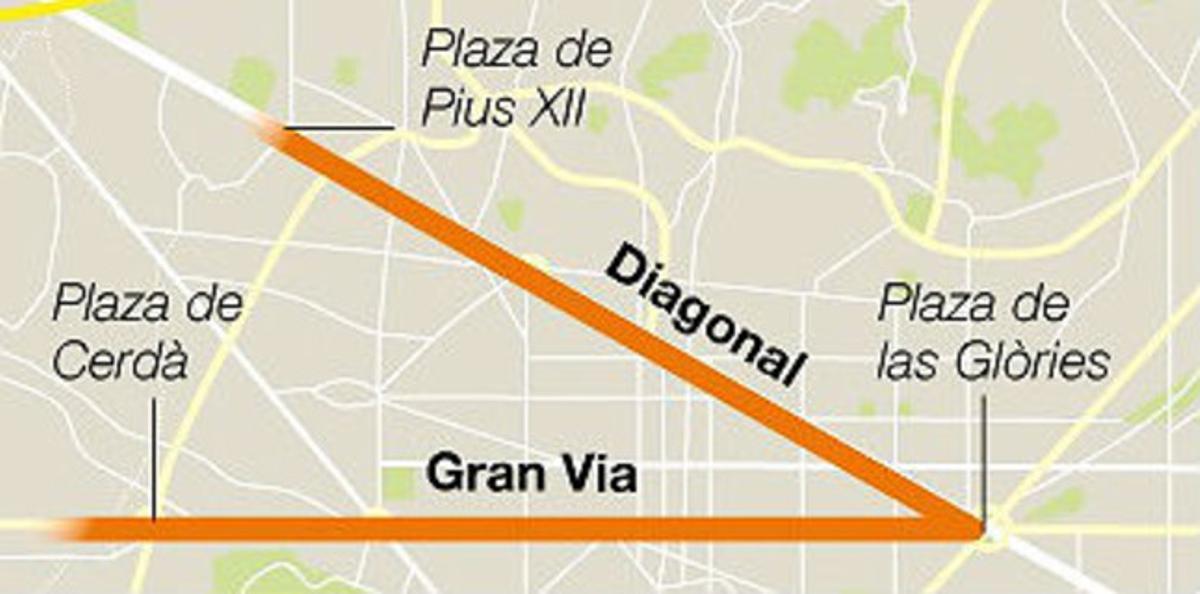 Mapa del recorrido de la 'V' de la Diada