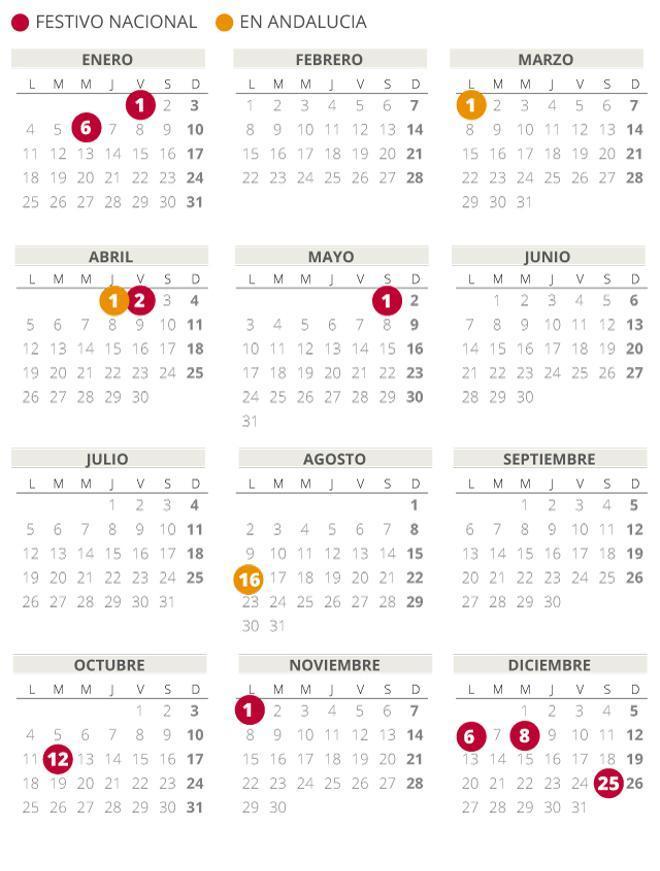 Calendario laboral de Andalucía del 2021 (con todos los festivos)