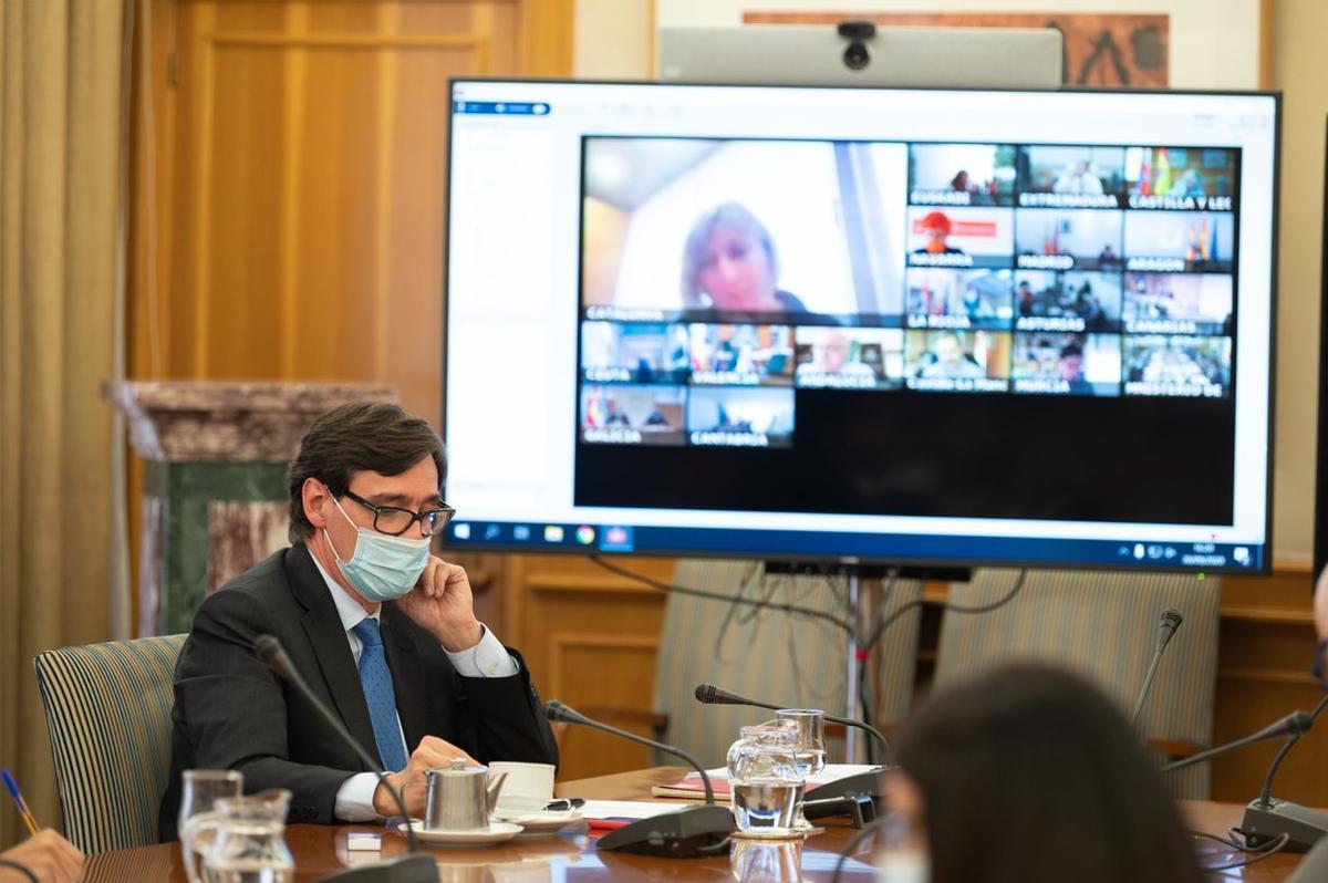 Salvador Illa, en una reunión del Consejo Interterritorial de Sanidad, en septiembre.