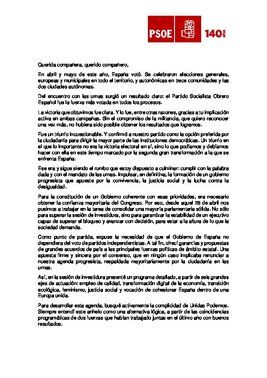 Carta de Pedro Sánchez a la militancia del PSOE este miércoles, tras la investidura fallida