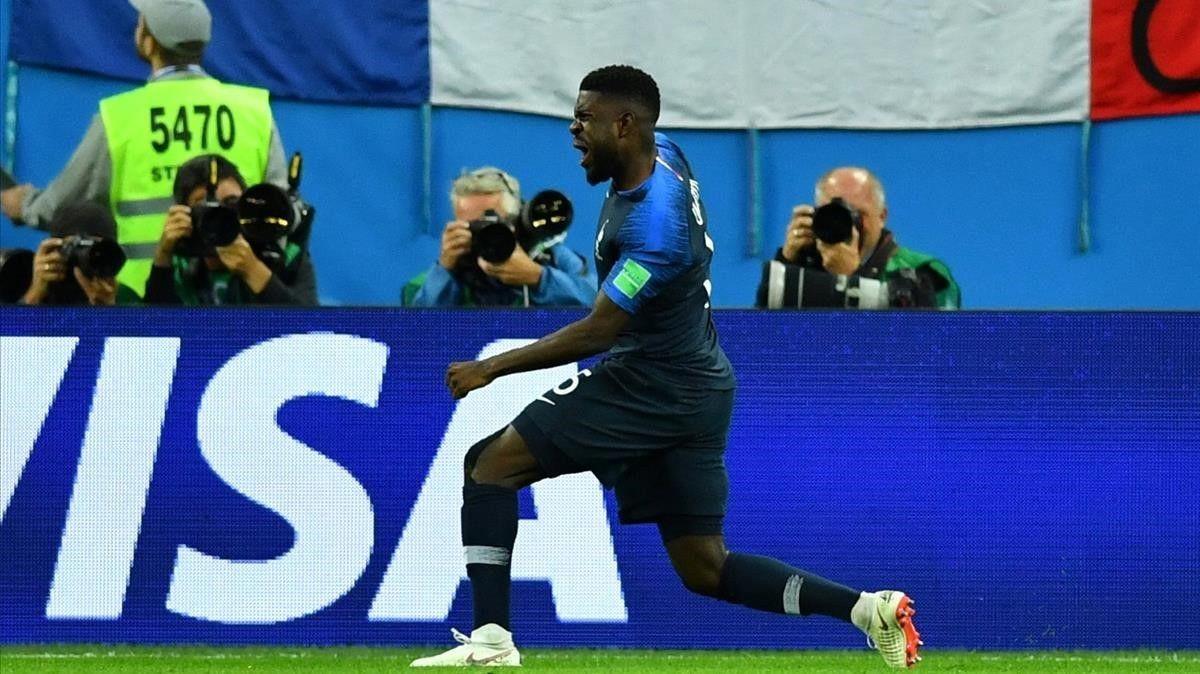 Imagen de Umtiti tras el cabezazo que envió a Francia a la final del pasado Mundial