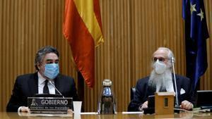 El ministro de Cultura, José Manuel Rodríguez Uribes, y el presidente de la comisión de Cultura del Congreso, Agustín Mazarrón, este viernes.
