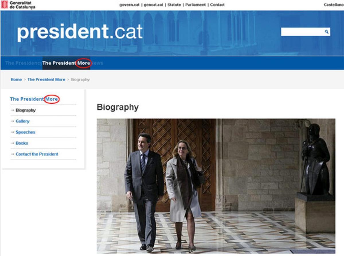 Imagen de la edición inglesa de la web del Govern, antes de ser anulada.