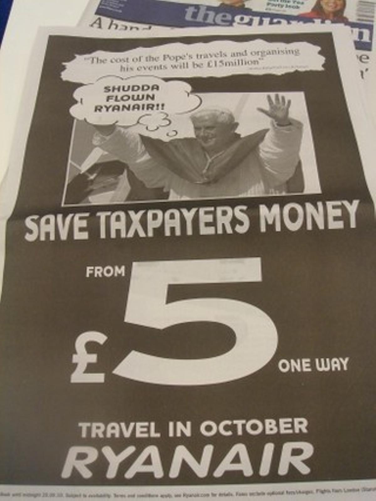 Anuncio de Ryanair publicado hoy en la prensa británica.
