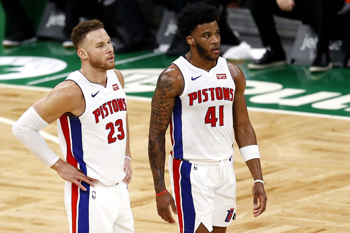 Griffin (izquierda), en una imagen de esta temporada con la camiseta de los Pistons