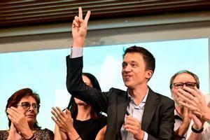 Íñigo Errejón, junto a otros miembros de la candidatura, en la presentación de Más País, el miércoles en Madrid.