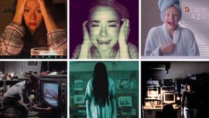 Mosaico de fotogramas de películas sobre tecnología y terror