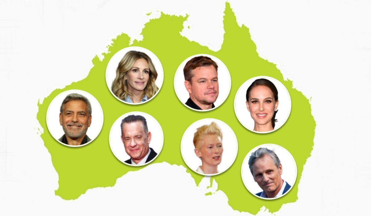 De izquierda a derecha, y de arriba a abajo, Clooney, Roberts, Damon, Portman, Hanks, Swinton y Mortensen, algunos de los actores hollywoodienses que ruedan en Australia.