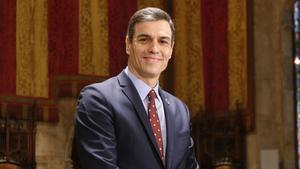 El presidente del Gobierno, Pedro Sánchez, este viernes en el Ayuntamiento de Barcelona.