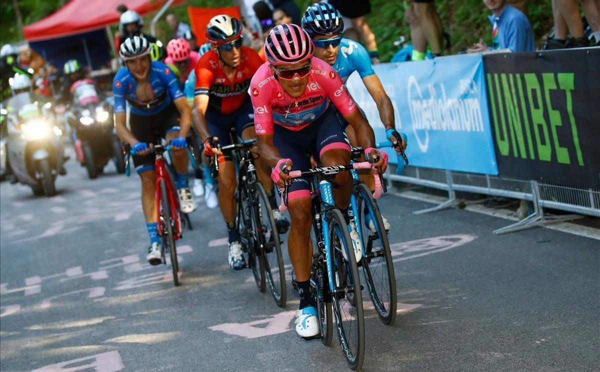 El grupo de favoritos, en el Giro del año pasado.