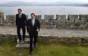 Mariano Rajoy ayer, en Pontevedra, junto a su homólogo portugués Pedro Passos Coelho.