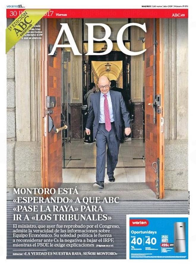 'El País' adverteix que Montoro és una llosa; 'Abc' es dona per amenaçat pel ministre