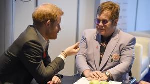 El príncipe Enrique y Elton John en la conferencia contra el sida de Ámsterdam.