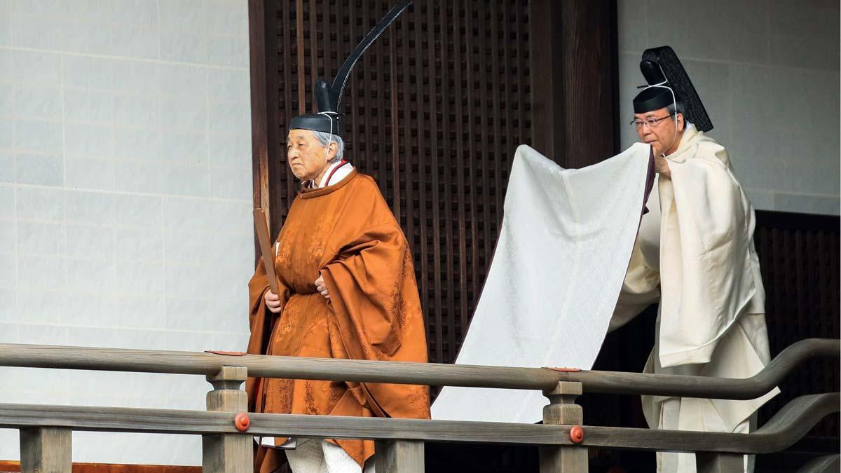 Perfil del emperador Akihito. En la imagen, en un ritual previo a la ceremonia de su abdicación.