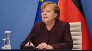 La canciller de Alemania, Ángela Merkel, interviniendo telemáticamente.