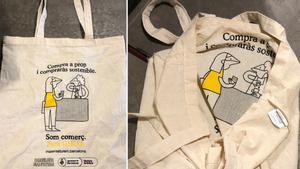 La bolsa para promover el comercio local de Barcelona, fabricadas en China.