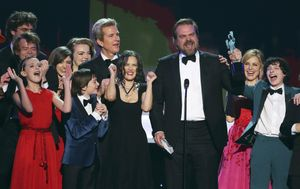 The cast of Stranger Things accepts their award for Ensemble in a Drama Series during the 23rd Screen Actors Guild Awards in Los Angeles, California, U.S., January 29, 2017.  REUTERS/Mike Blake