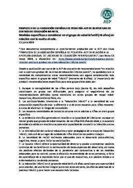 Propuesta de la Asociación Española de Pediatría para reabrir escuelas de educación infantil