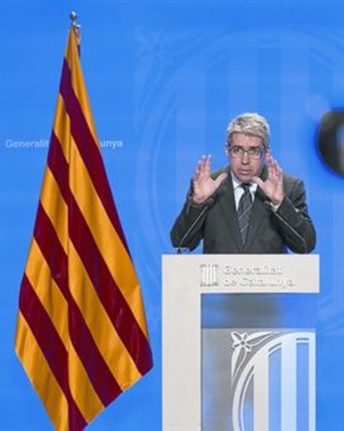 El portavoz del Govern, Francesc Homs, en una rueda de prensa.