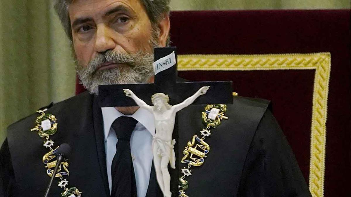 El presidente del TSy del Consejo General del Poder Judicial, Carlos Lesmes, hoy en la sede del Tribunal Militar Central.