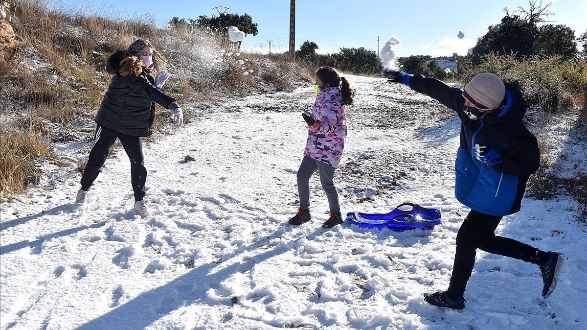 Batalla de nieve en la Noguera (Lleida) el pasado 28 de diciembre.