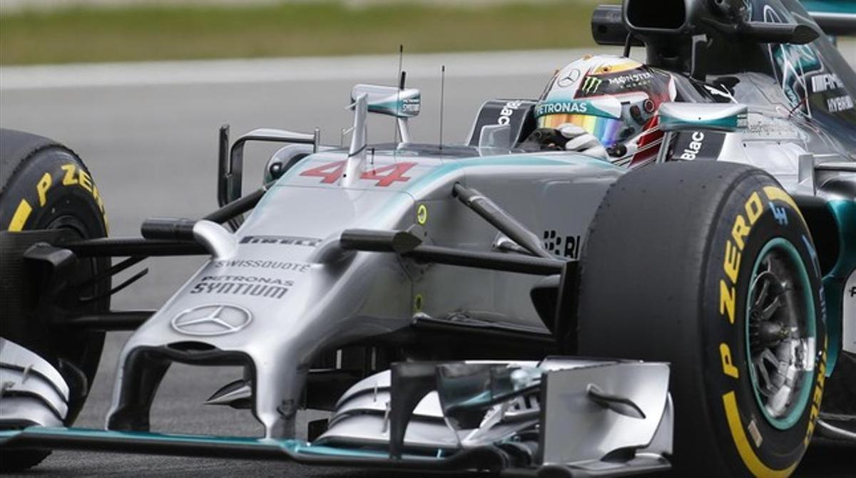 El Mercedes de Lewis Hamilton, este viernes.