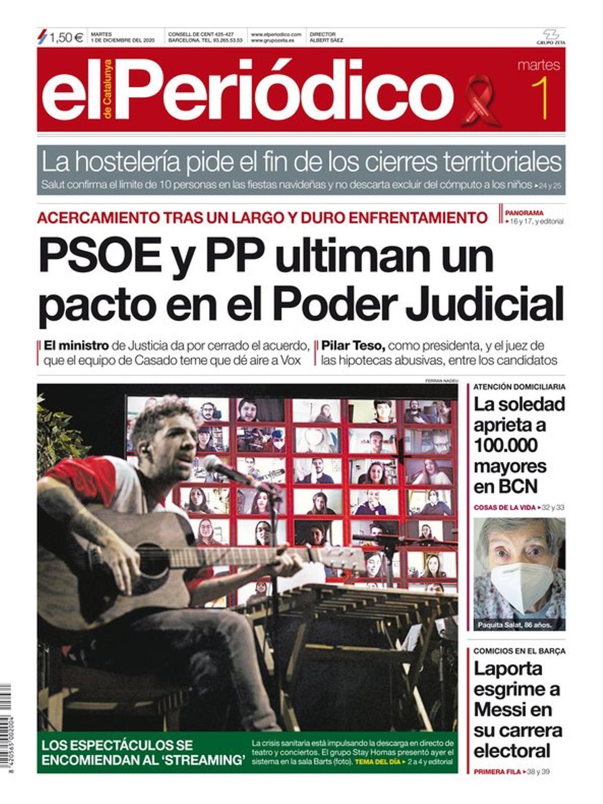 La portada de EL PERIÓDICO del 1 de diciembre del 2020.