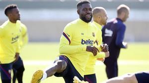 Samuel Umtiti, en el entrenamiento del miércoles en la Ciutat Esportiva.
