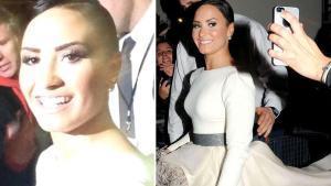 Dos imagenes de la actriz y cantante Demi Lovato captadas en el mismo momento, en una imagen del archivo del 2014
