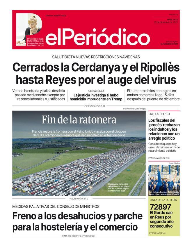 La portada de EL PERIÓDICO del 23 de diciembre del 2020
