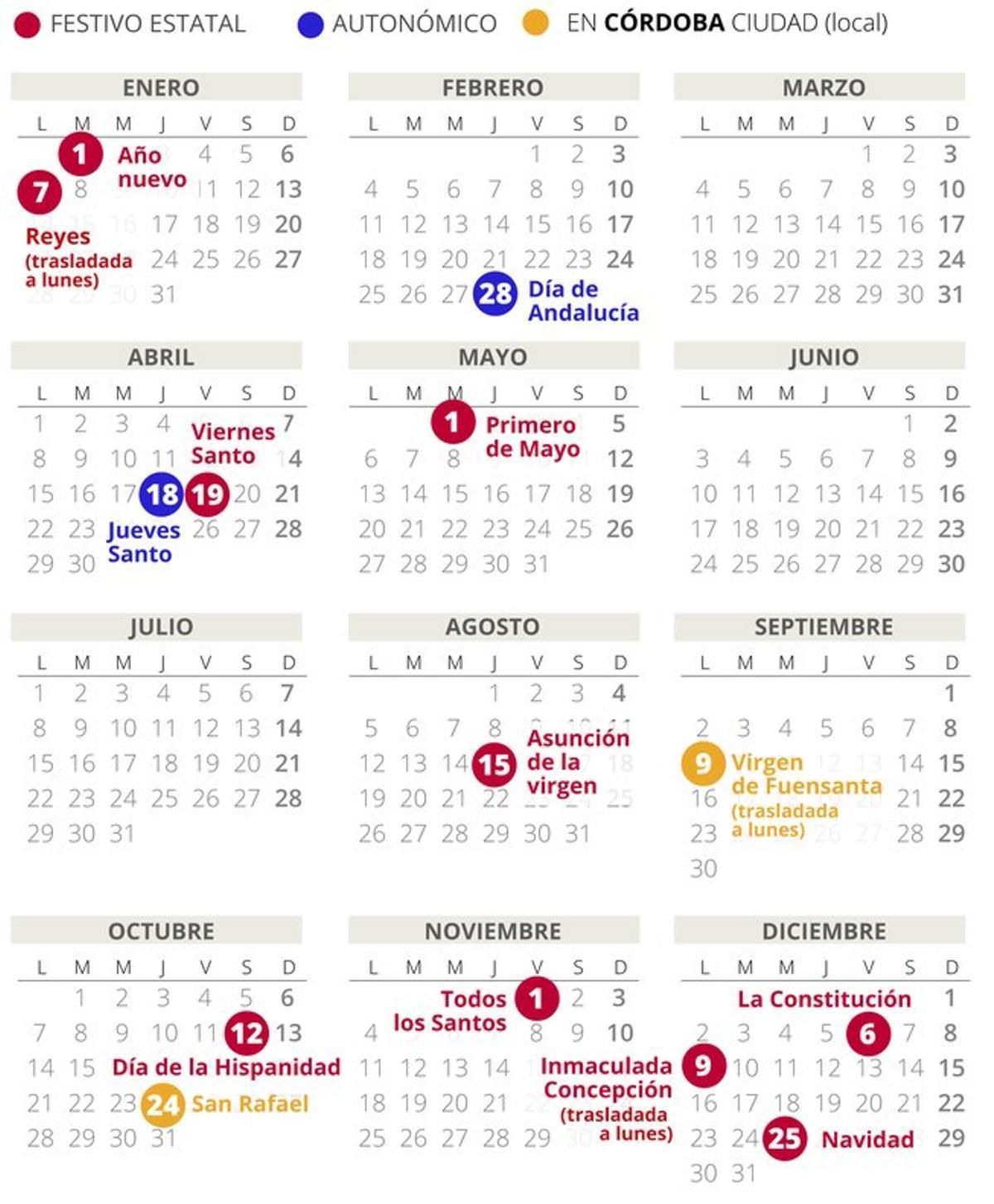 Calendario laboral de Córdoba del 2019 (con todos los festivos)