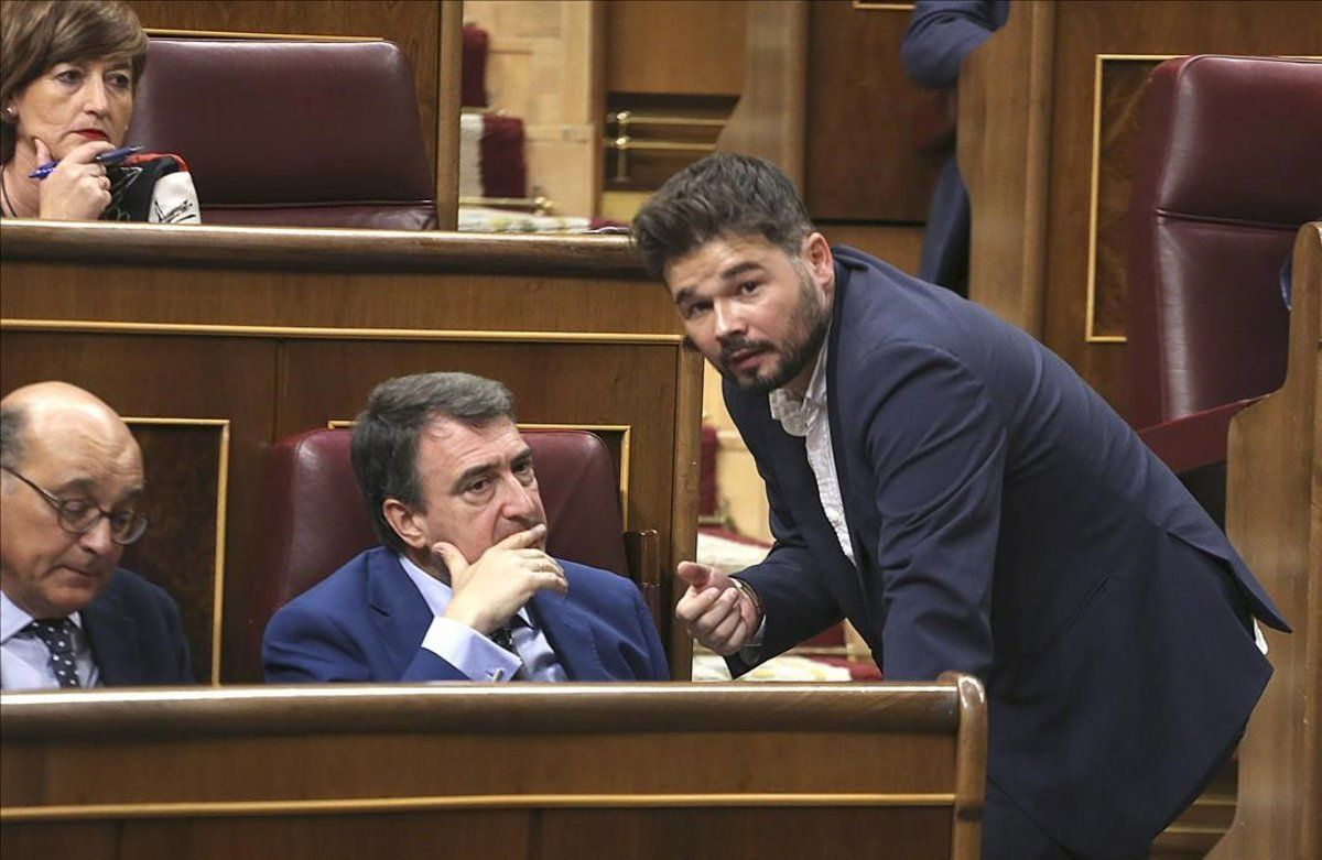 Aitor Rufián y Gabriel Rufián, este martes en el Congreso.
