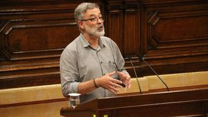 El diputado de la CUP, Carles Riera, en el Parlament.