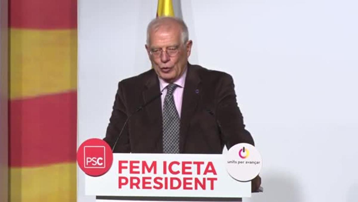 Declaraciones del exministro socialista Josep Borrell, en el acto de L'Hospitalet de LLobregat.