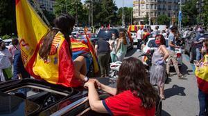 Manifestantes de Vox el pasado día 23 de mayo en Barcelona.