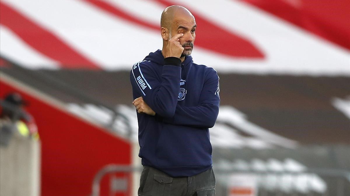 Pep Guardiola, en el partido contra el Southampton.