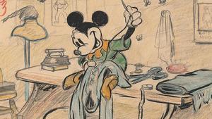 Esbozo de Mickey Mouse para el cortoEl sastrecillo valiente(1938).