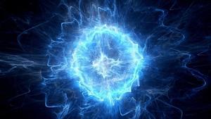 Representación artística de un átomo