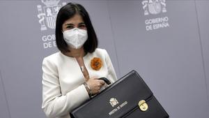 La ministra de Sanidad Carolina Darias, ayer, durante el acto de traspaso de la cartera de su Ministerio.