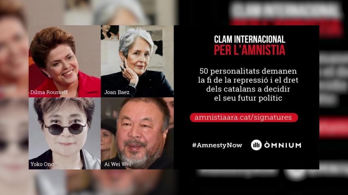 Personalidades internacionales reclaman la amnistía por el 1-O en un manifiesto de Òmnium.