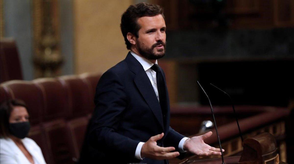 El líder del PP, Pablo Casado, en la tribuna del Congreso, en una foto de archivo.