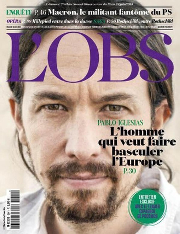 Pablo Iglesias, en la portada de 'Le Nouvel Observateur' de este domingo