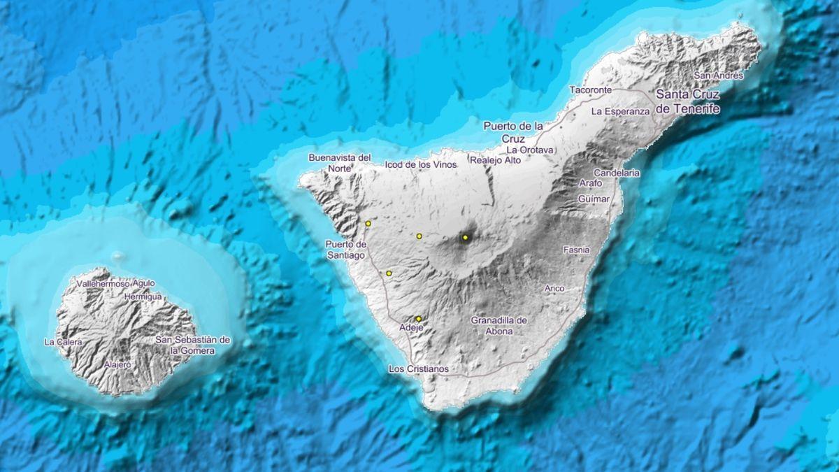 Localización de los sismos en la isla de Tenerife.