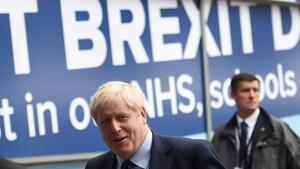 El primer ministro británico, Boris Johnson, llega a la conferencia 'tory' en Manchester, este domingo.