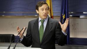 El portaveu parlamentari del PP, Rafael Hernando, aquest dimarts al Congrés dels Diputats.