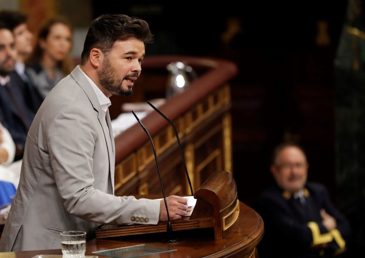 Gabriel Rufián, durante su discurso en la última jornada de la investidura.